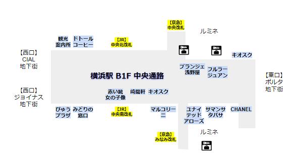 横浜駅構内図(中央通路詳細)