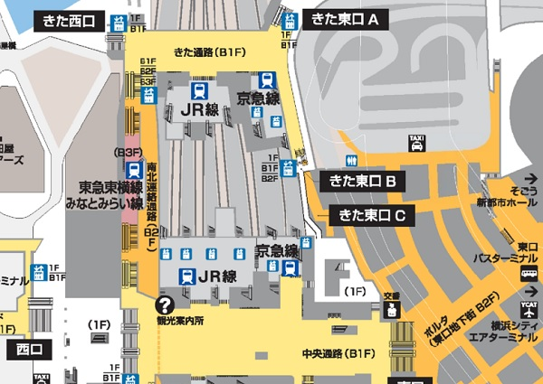 横浜駅の構内にある構内図マップ