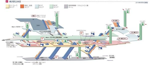 東急東横副都心線/みなとみらい線横浜駅の構内図