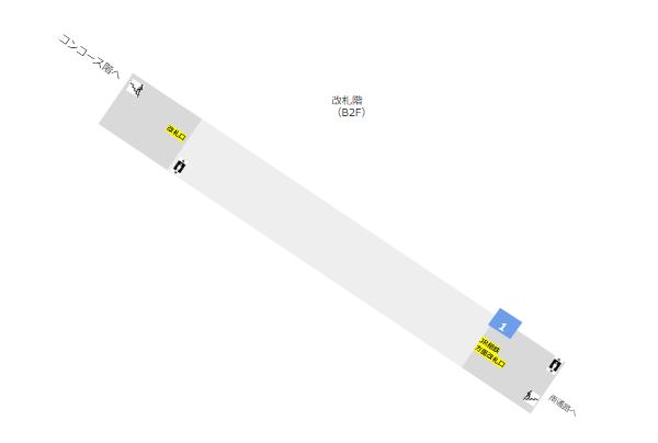 地下鉄ブルーライン横浜駅構内図(改札の位置)