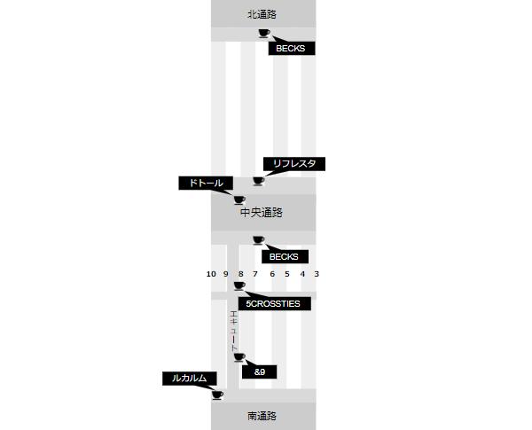 JR横浜駅構内図(カフェ場所)