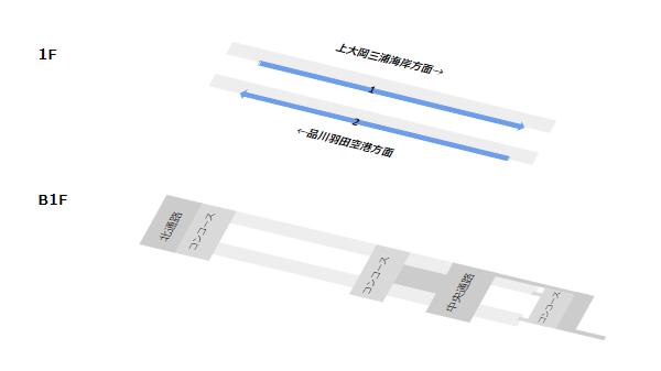 京浜急行横浜駅構内図(1F-2F階層図)