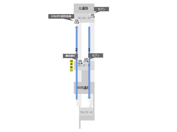 京浜急行横浜駅構内図(ATMの位置)