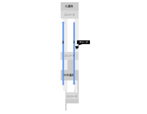 京浜急行横浜駅構内(カフェの位置)