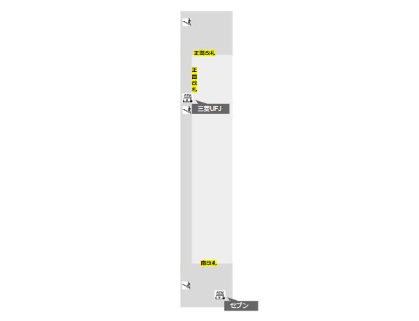 東急線横浜駅構内図(ATMの場所)