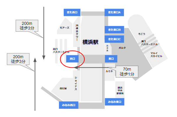 横浜駅中央西口の場所