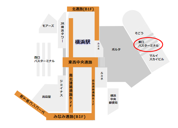 横浜駅東口バス乗り場の場所