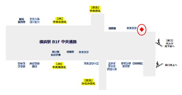 横浜駅の中央通路内の証明写真機の場所