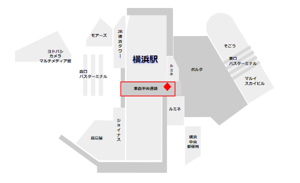 横浜駅の証明写真機(中央通路内)の場所