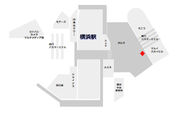横浜駅の証明写真機(ポルタ地下街)の場所