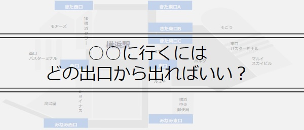 横浜駅の○○に行くにはどの出口から出ればいい?