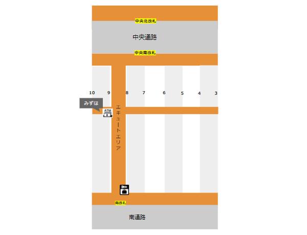 横浜駅ナカのATMとロッカーの場所