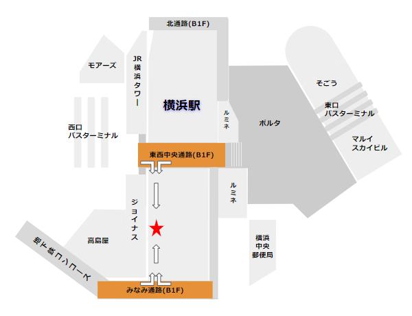 横浜駅駅ナカ施設エキュートエディションの場所