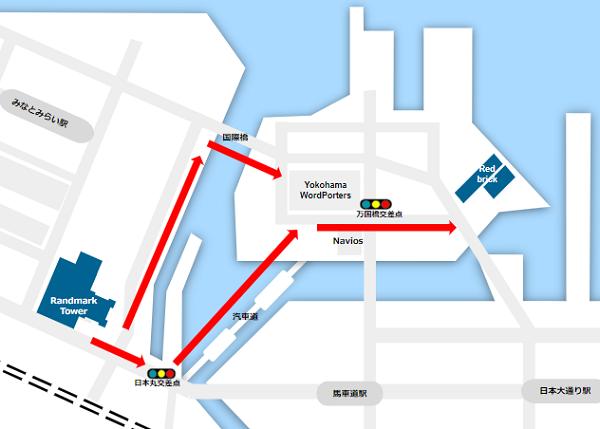 ランドマークと赤レンガ倉庫の距離感map