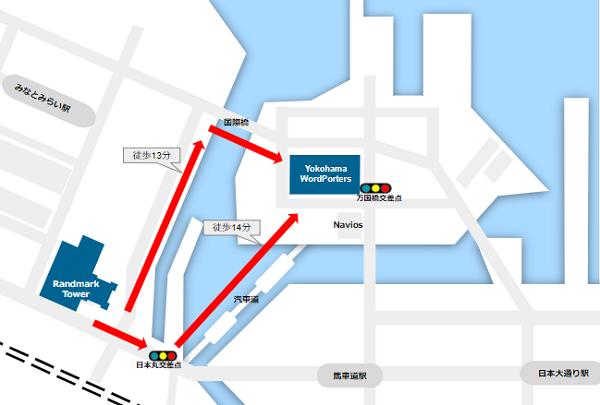 ランドマークとワールドポーターズの距離感map