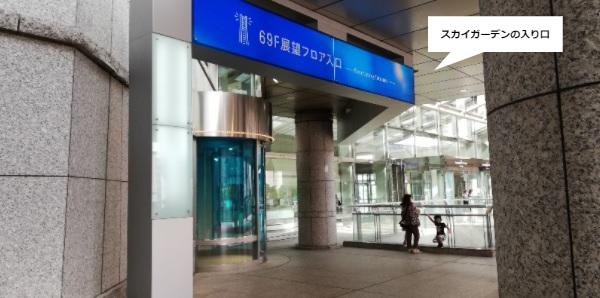 横浜スカイガーデン展望台の入り口